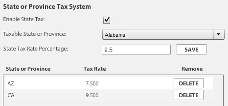 EasyCart State Tax Display